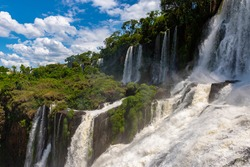 Wonderful vivid landscape of Iguazu Falls with water streams falling down among verdant vegetation in sunny day