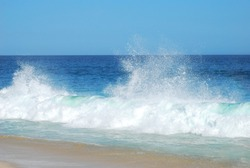 Wonderful waves breaking on the beach