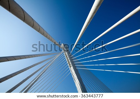 Wonderful white bridge structure over clear blue sky #363443777