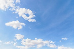Wonderful white soft fluffy few clouds on a light blue sky background. Copy space