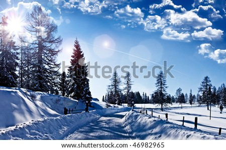 wonderful winter-landscape with blue sky
