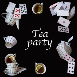 Wonderland background. Mad tea party. Cups, teapot and playing cards falling down the rabbit hole.