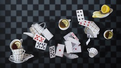 Wonderland background. Mad tea party. Cups, teapot and playing cards falling down the rabbit hole. Chess wonderland background.