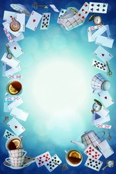 Wonderland background. Mad tea party.Playing cards, pocket watch, key, cup and teapot falling down the rabbit hole. Vertical banner.