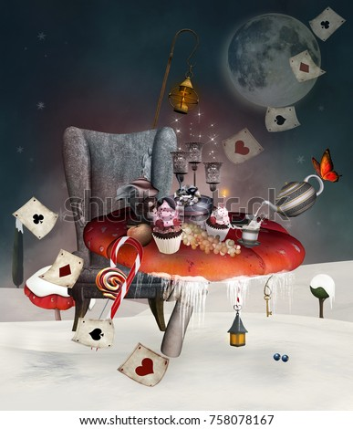 Wonderland Christmas banquet with different kinds of foods, mushrooms, armchair and other stuff inspired by Alice in Wonderland tale - 3D mixed media illustration