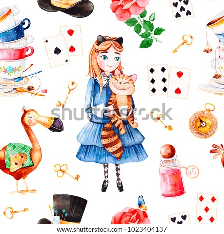 Stock Photo Wonderland seamless texture.Magical pattern with lovely rose,playing cards,hat,old clock and golden keys,young girl in blue dress with cute cat, Dodo bird,bottle.Perfect for wallpaper,print,packaging
