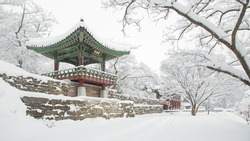 Wonhyosa, a buddhist temple, covered with snow, Gwangju, South Korea