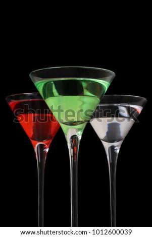 Woo woo, appletini and vodka martini cocktails . #1012600039