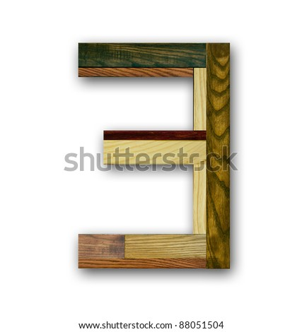 "Wood alphabet number ""3"""
