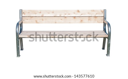 Wood and metal bench isolated on white - stock photo