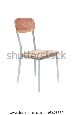 Wood and Metal Chair Isolated on White Background with clipping path #1105628330