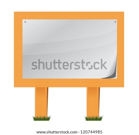 wood and paper sheet sign illustration design over a white background
