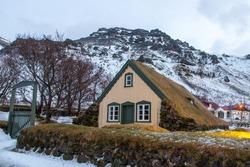Wood and peat ( turf) church at Hof, Skaftafell Iceland, Hofskirkja in wintertime