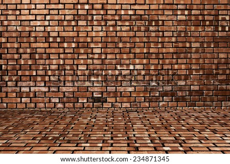 Wood and red brick texture background #234871345