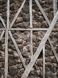 Wood and stone wall texture