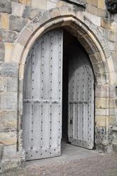 Wood arch doorway into church, St Andrews, Scotland
