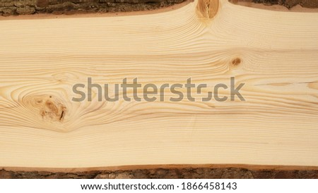Wood background - Spruce fir wooden table board template, with tree edge and bark and space for text