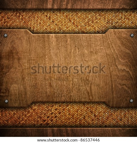 wood background with rattan