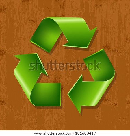 Wood Background With Recycle Symbol - stock photo
