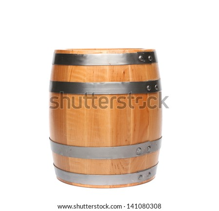 Wood barrel isolated is located on the white background