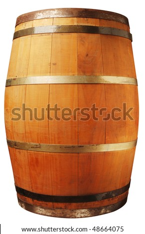 Wood barrel isolated on white with a clipping path