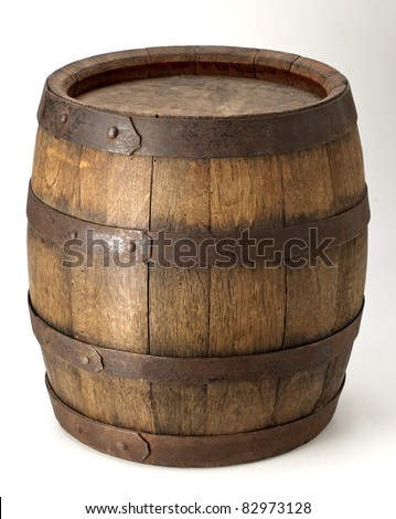 wood barrel with steel  ring