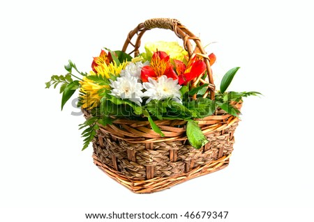 wood basket with flowers