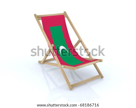 wood beach chair with maldives flag 3d illustration