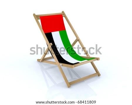 wood beach chair with united arab emirates flag 3d illustration