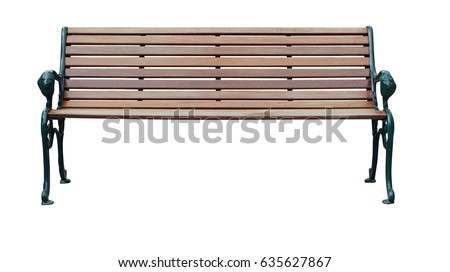 wood bench isolate with clipping path on white background - Shutterstock ID 635627867
