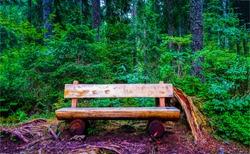 Wood bench seat in rural views