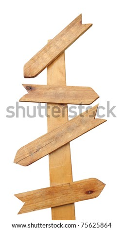 Wood blank direction sign isolated on white background
