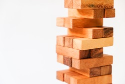 Wood block Stack tower game for children playing on white background
