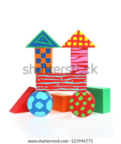 Wood blocks forming a house