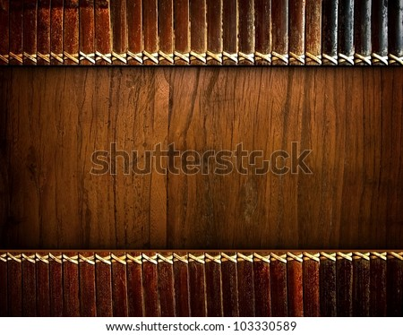 wood board with bamboo blinds