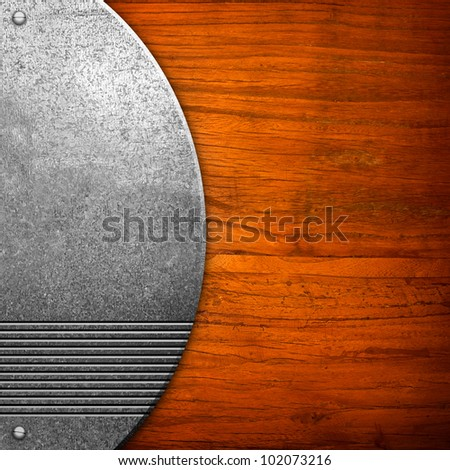 wood board with metal decoration