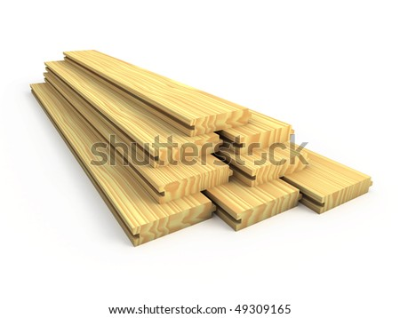 Wood boards isolated