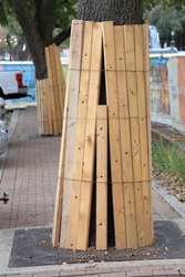Wood boards placed around a tree trunk and secured with wire to protect it from damage during construction