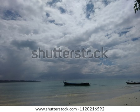 Wood boats on the beach & White background pic.