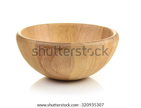Shutterstock wood bowl  on white background