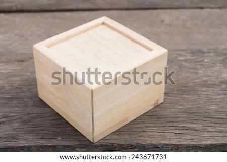 wood box on  on wood table