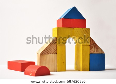 wood bricks building children's toys wooden cubes on a white background ストックフォト ©