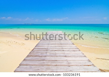 Wood  bridge and perspective, Munnork Island, Rayong Province, Gulf of Thailand