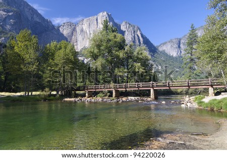 wood bridge in Yosemite National Park, California, Usa