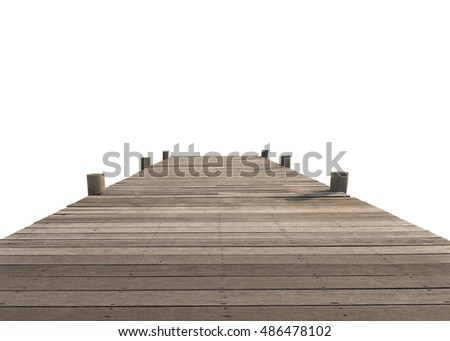 Wood bridge isolated on white background. This has clipping path.