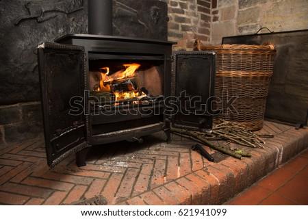 Wood burning fire stove Foto d'archivio ©