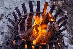 Wood burning in a fire pit