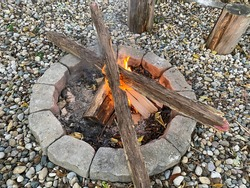 Wood burning in a small fire pit in the backyard