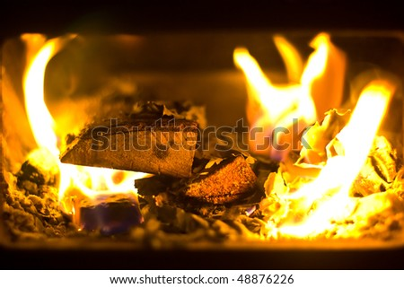 wood burning in furnace in a home during winter