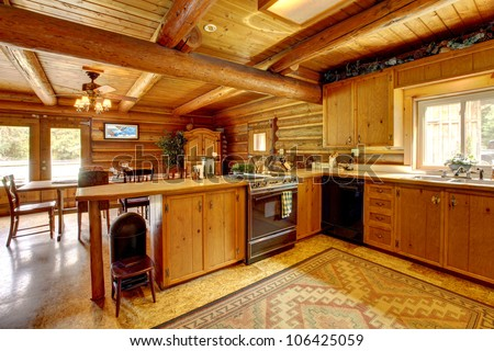Wood cabin rustic kitchen interior.